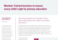 Wanted: Trained Teachers to Ensure Every Child's Right to Primary Education
